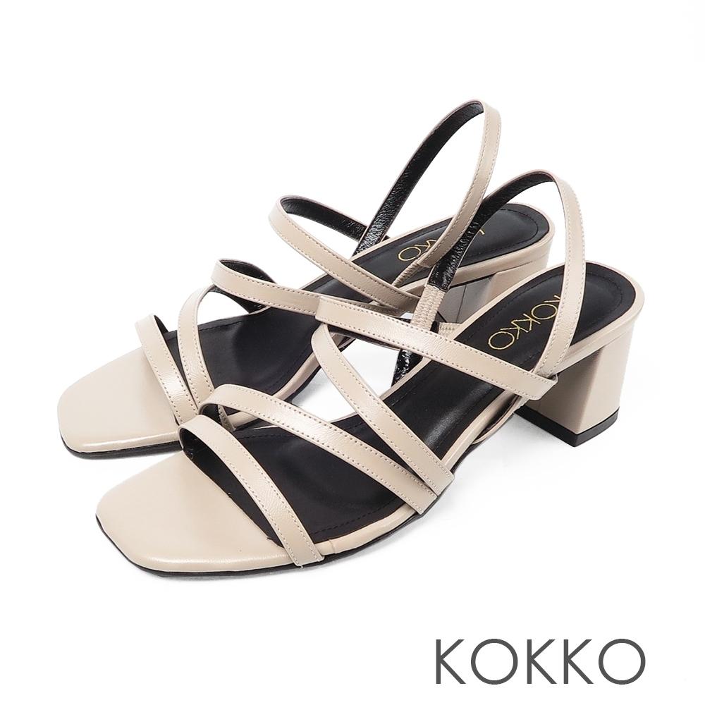 KOKKO女神風範羊皮方頭細帶粗跟涼鞋 - 質感灰