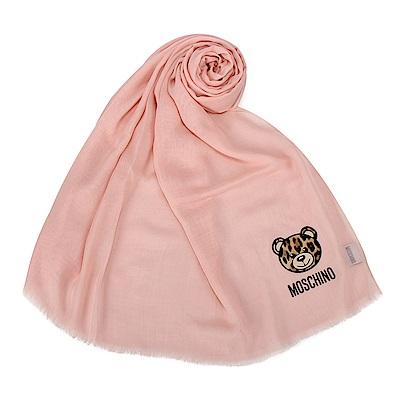 MOSCHINO 經典TOY小熊 100%莫代爾材質薄圍巾-粉紅色