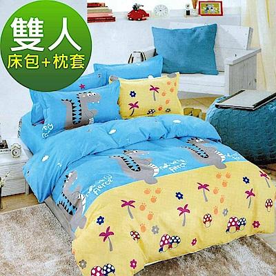 La Veda  雙人三件式床包+枕套組 舒適磨毛布-恐龍王國