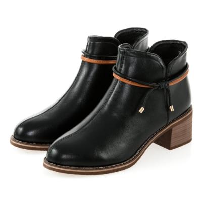 JMS-甜美雙細帶蝴蝶結造型素面粗跟短靴-黑色
