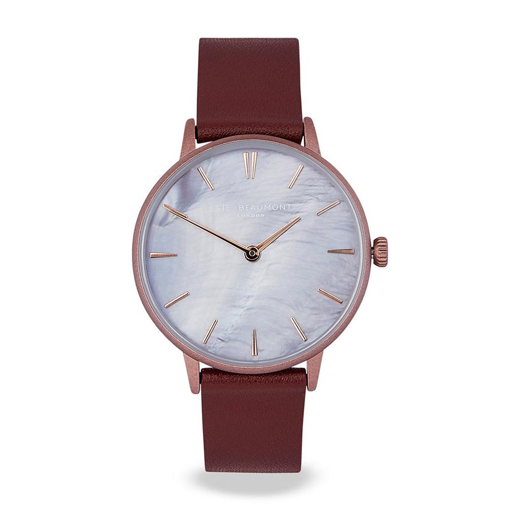 Elie Beaumont英國時尚手錶 SOHO系列 珍珠母貝錶盤x紫紅皮革錶帶35mm