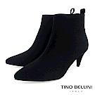 Tino Bellini 純色極簡絨布中跟尖楦短靴 _ 黑