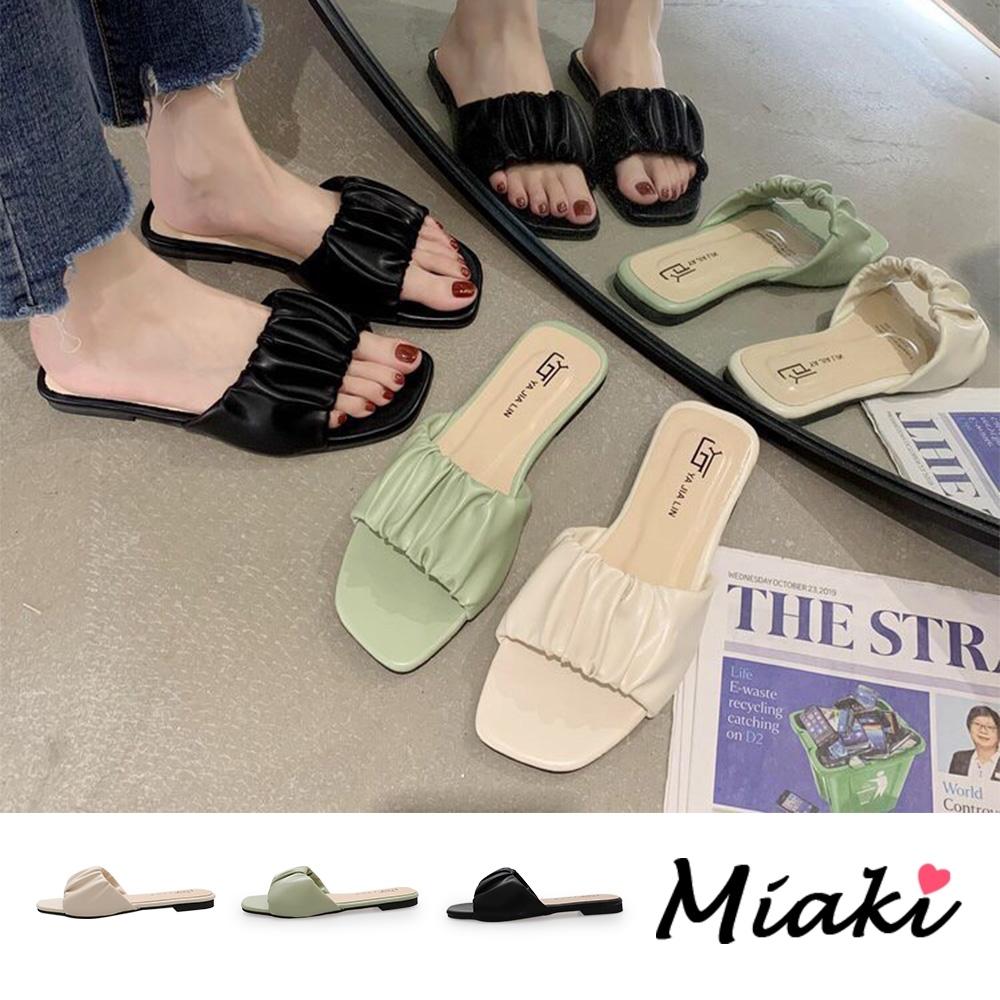 Miaki-拖鞋韓風甜心方頭平底涼拖