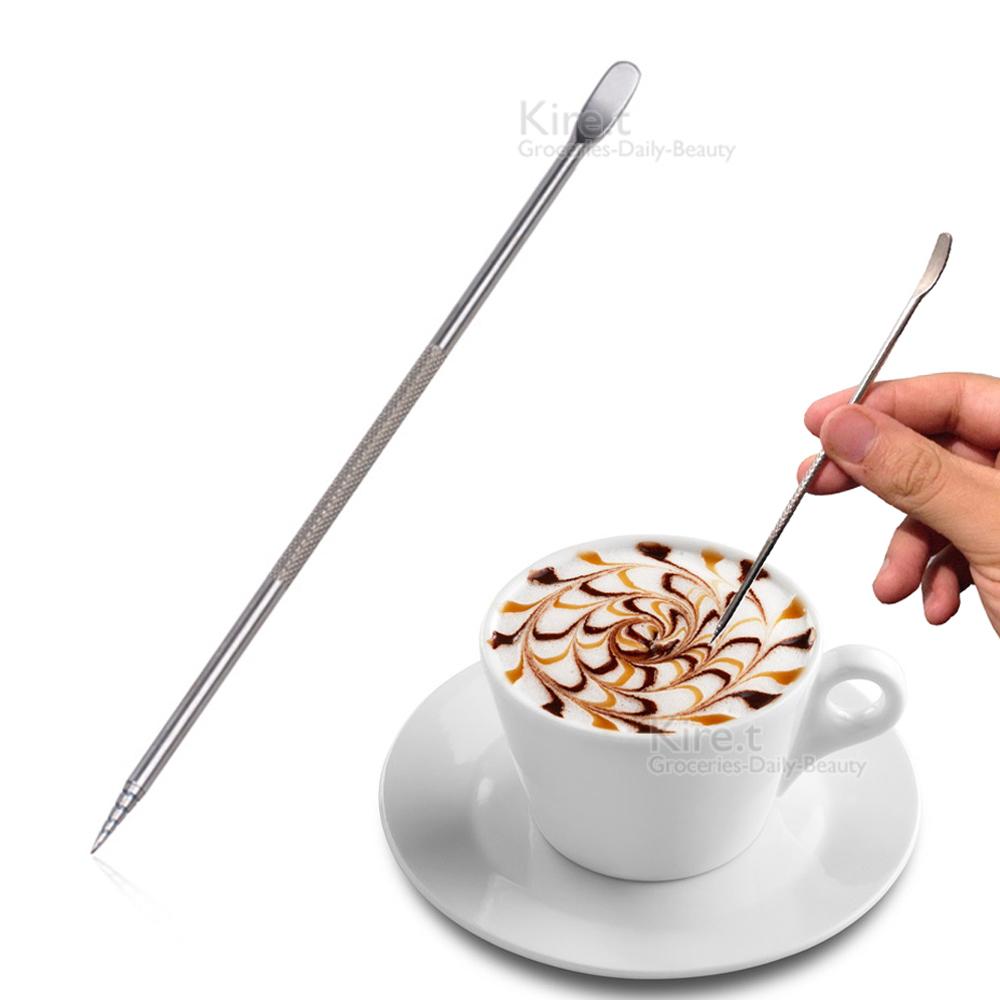 雙頭兩用 不鏽鋼 奶泡 咖啡拉花針 拉花筆-2入kiret