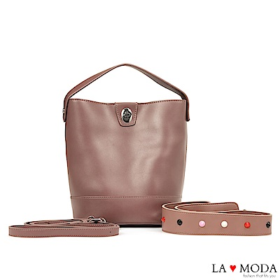 La Moda 百搭經典不敗款多種背法大容量肩背斜背水桶包(粉)