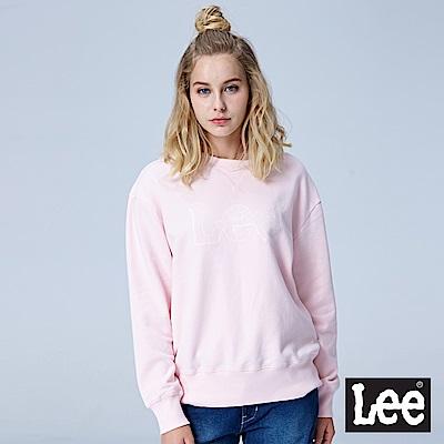 Lee 鎖鏈LOGO圓領長袖厚TEE/RG-粉色