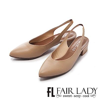 Fair Lady 有一種喜歡是早秋-素面優雅粗跟涼鞋 棕