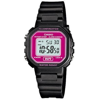 CASIO 黑色方塊輕巧個性電子錶-紫紅框灰面(LA-20WH-4A)/22mm