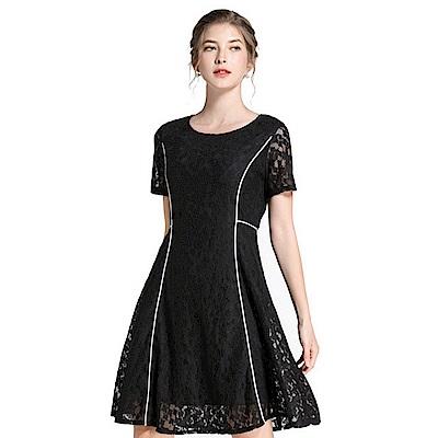蕾絲鏤空撞色線條收腰顯瘦洋裝L-5XL-KVOLL