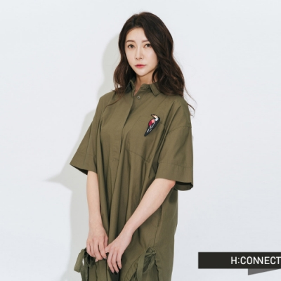 H:CONNECT 韓國品牌 女裝-質感純色襯衫洋裝-綠
