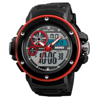 SKMEI 時刻美1341-雙機芯多功能防震防水電子錶_紅色