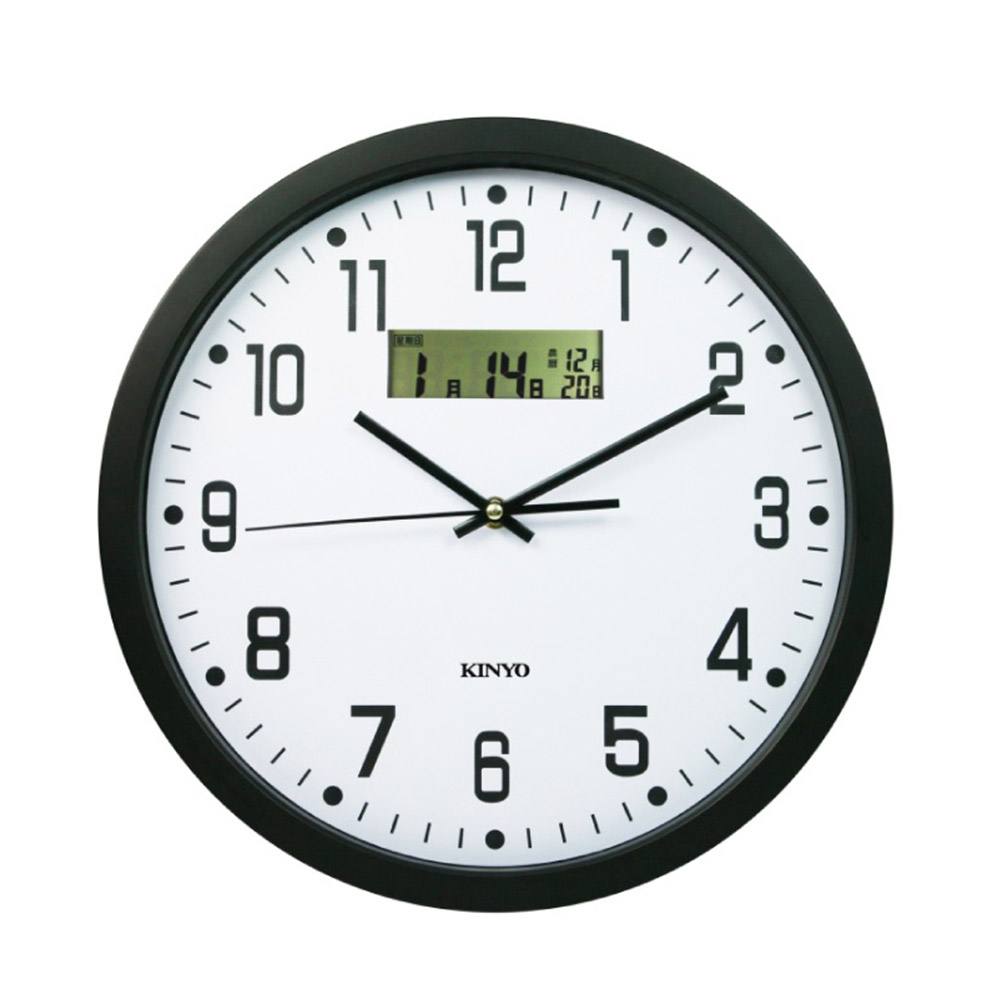 KINYO 14吋LCD顯示超靜音掛鐘/時鐘(CL-151)雙重顯示