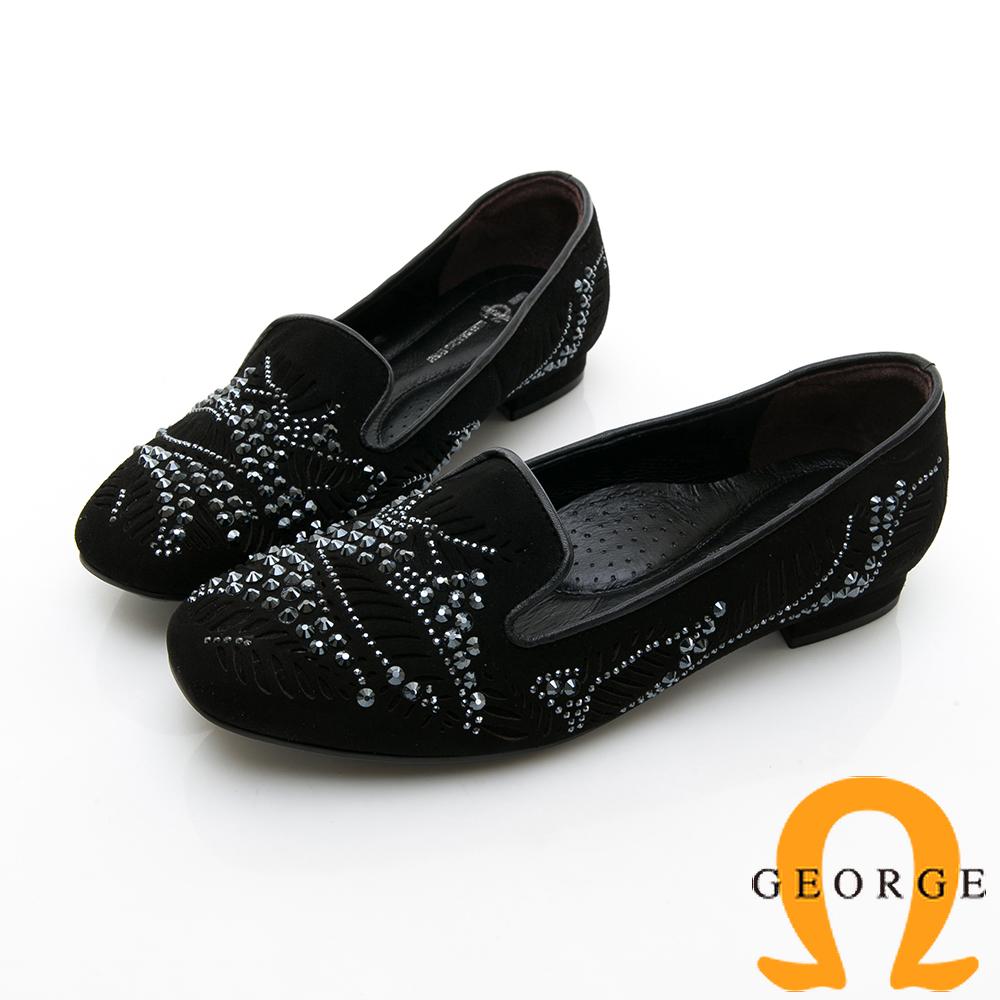 【GEORGE 喬治皮鞋】甜美水鑽鏤空淑女平底鞋-黑色