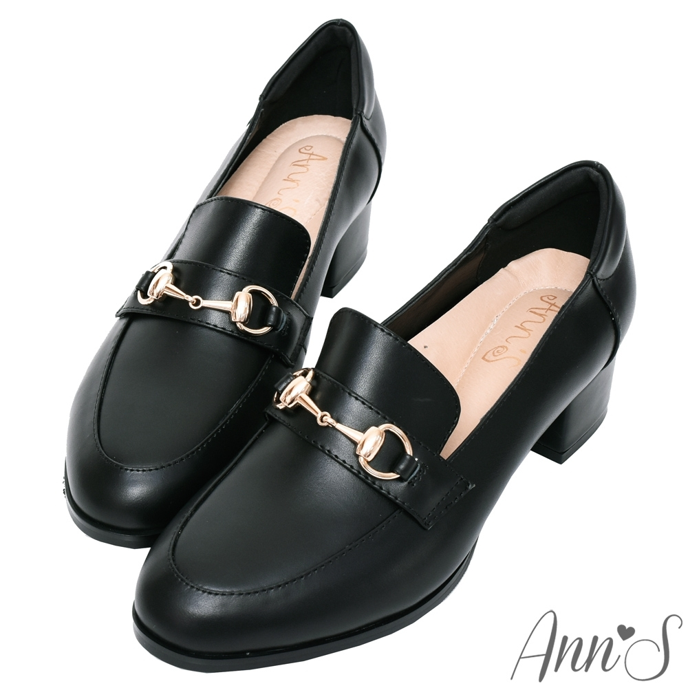 Ann'S質感真小羊皮金釦粗跟紳士鞋 -黑