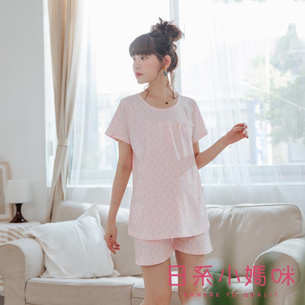 日系小媽咪孕婦裝-哺乳衣 滿版小花束套裝 M-L