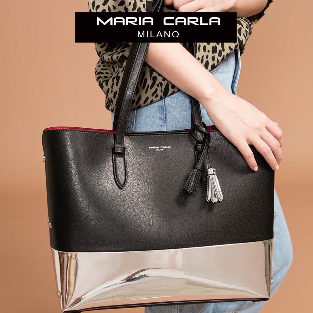 Maria Carla 手提肩背包-牛皮大托特_迷漾輕時尚、清新朝氣系列(特殊色-星空黑)