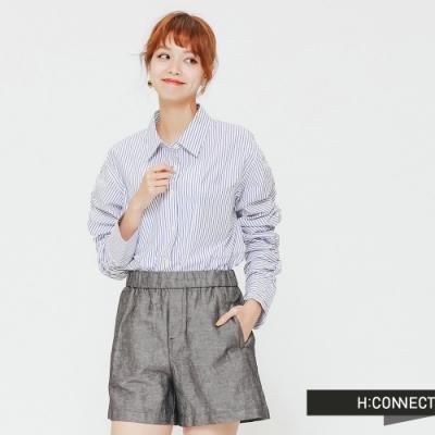 H:CONNECT 韓國品牌 女裝-抓皺設計直條紋襯衫-藍(快)