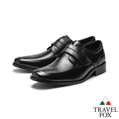 TRAVEL FOX(男)完美情人抛光牛皮低跟側扣式紳士皮鞋 -光華黑