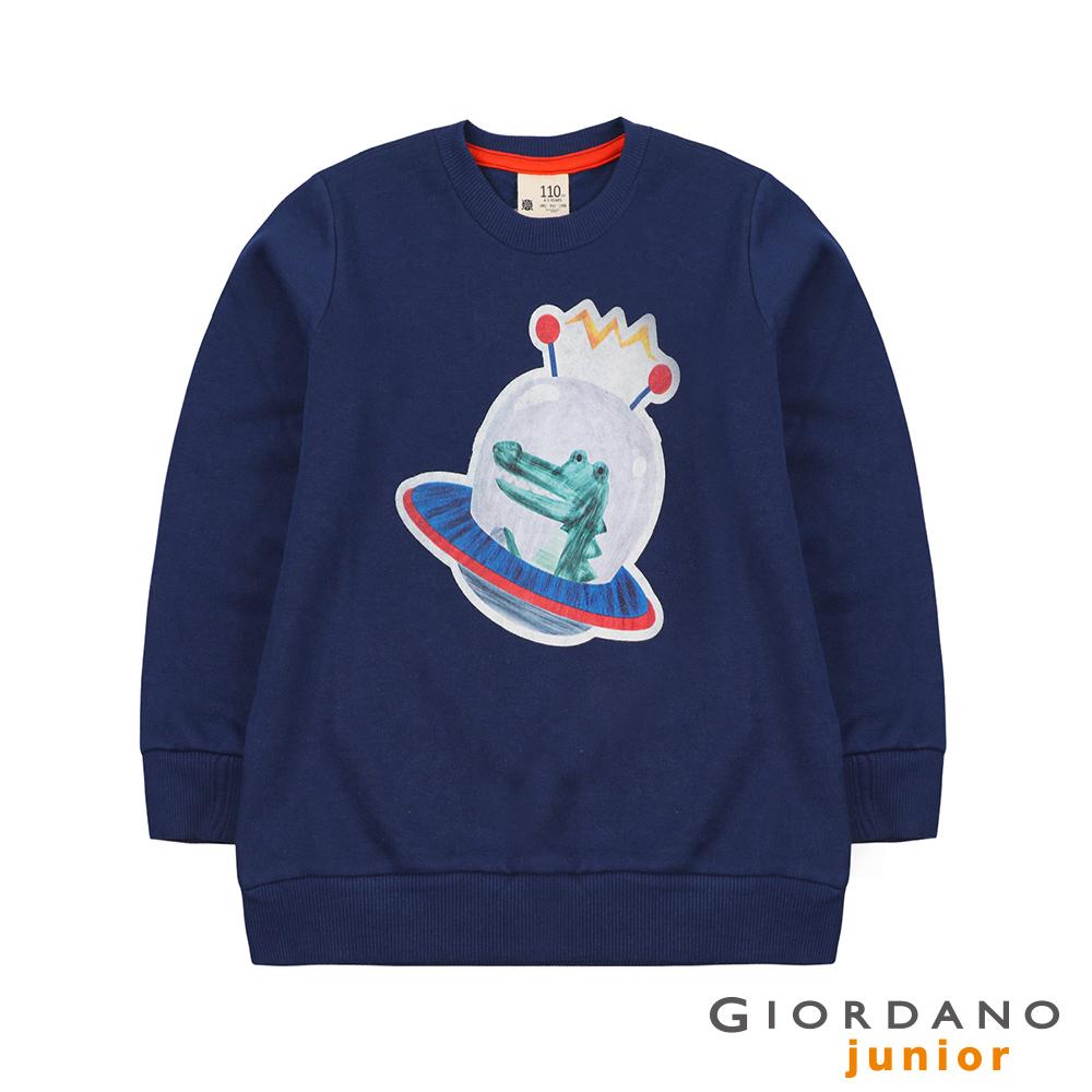 GIORDANO 童裝手繪風格宇宙動物刷毛長袖上衣-62 海底藍