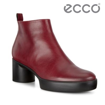ECCO SHAPE SCULPTED MOTION 35 復古粗跟拉鍊踝靴 女鞋 深酒红