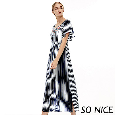 SO NICE民俗風刺繡條紋長洋裝
