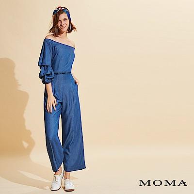 MOMA 天絲牛仔露肩連身褲