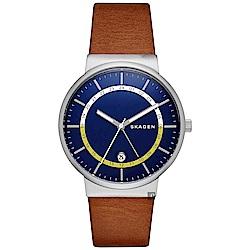 SKAGEN Ancher 創意個性石英手錶(SKW6253)-藍x咖啡/40mm