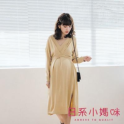 日系小媽咪孕婦裝-孕婦裝~甜美色系V領腰造型針織洋裝
