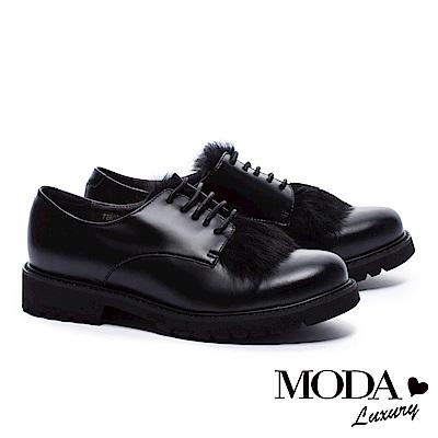 低跟鞋 MODA Luxury  英式暖意兔毛綁帶厚底牛津低跟鞋-黑