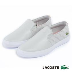 LACOSTE 女用真皮休閒鞋/懶人鞋-灰色