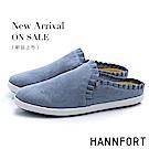 HANNFORT CALIFORNIA 柔美荷葉慵懶穆勒鞋-女-藍