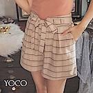 東京著衣-yoco 細緻質感綁帶蝴蝶結雙口袋格紋短褲-S.M.L(共二色)