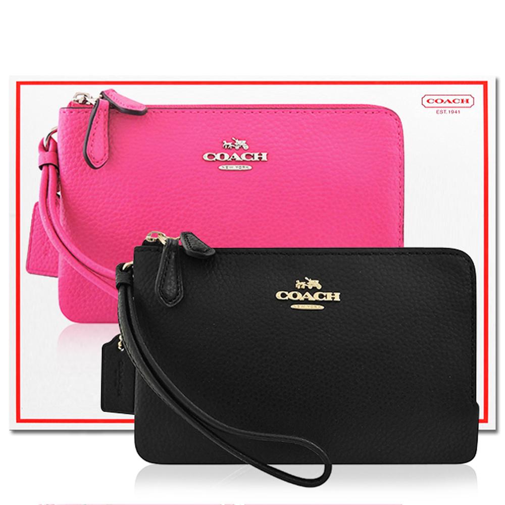 COACH 黑色皮革雙層手拿包+COACH 桃紅色皮革雙層手拿包 @ Yahoo 購物