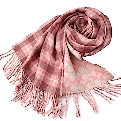 粉色格紋搭配大C LOGO 雙面羊毛保暖圍巾