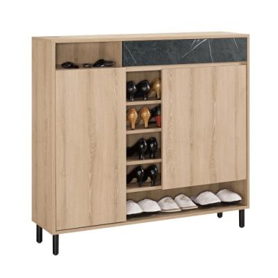 文創集 波德 現代4尺雙色二門鞋櫃/玄關櫃-120x30x112cm免組