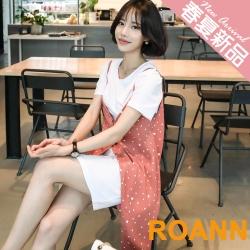 素面中長款T恤+點點吊帶裙兩件套 (共二色)-ROANN