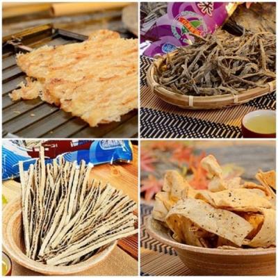 東港華得‧禮盒B(碳烤魷魚片+黑胡椒魚板+黑芝麻鱈魚絲+墨魚香絲)(春節禮盒)