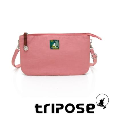 tripose漫遊系列岩紋x微皺尼龍斜背皮夾包 粉紅