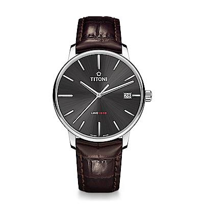 TITONI瑞士梅花錶 LINE1919 百周年系列錶款 T10 超薄自製機芯 (83919 S-ST-576)-炭灰面皮帶/40mm