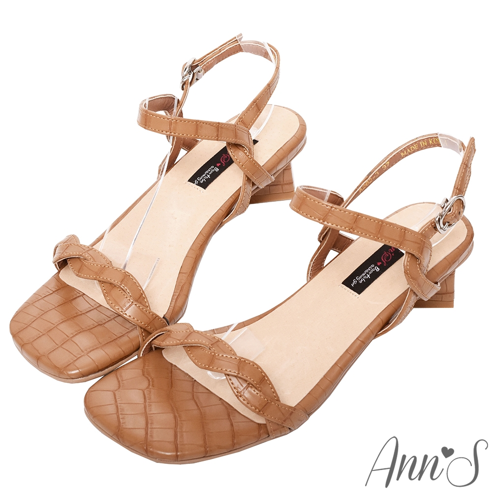 Ann'S氣質麻花石頭紋側V顯瘦方塊粗跟涼鞋-棕(版型偏小)