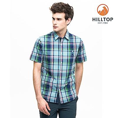 【hilltop山頂鳥】男款吸濕快乾抗UV短袖襯衫S06M67淺綠底深藍格