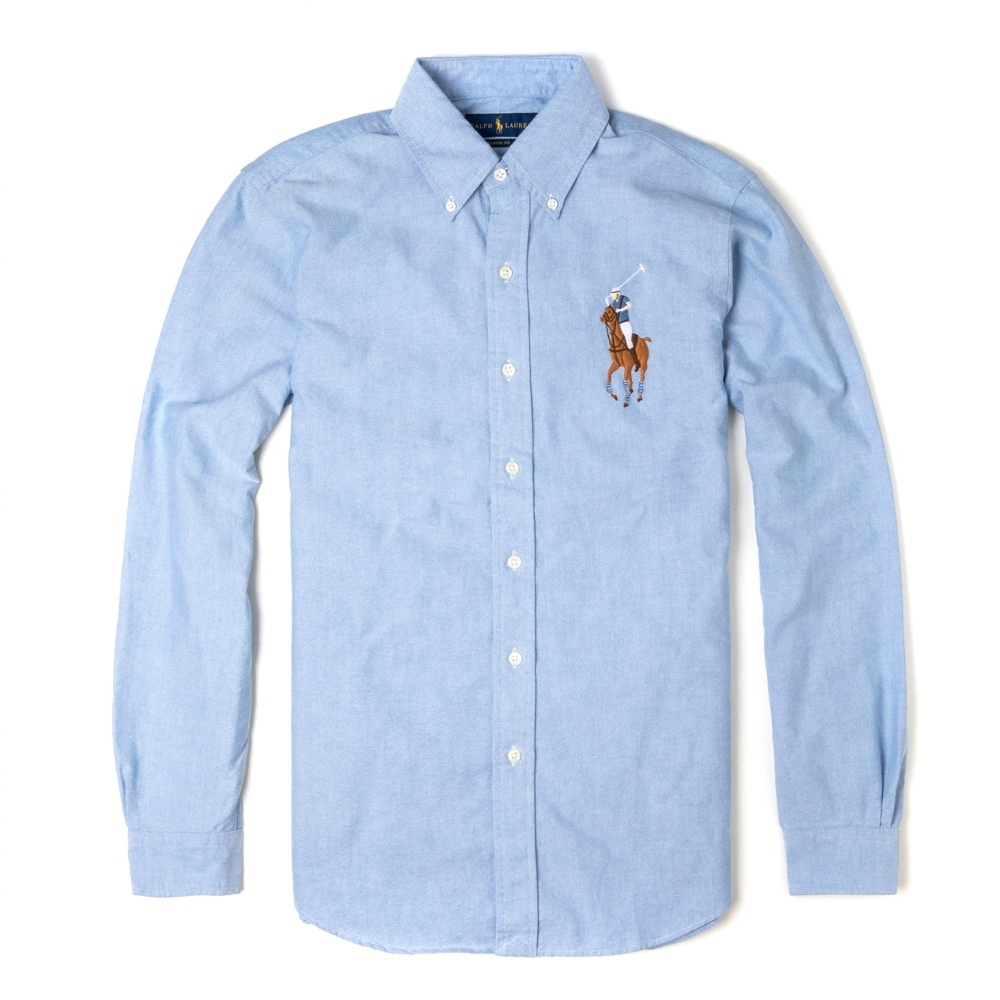Polo Ralph Lauren 年度經典熱銷彩色大馬刺繡長袖襯衫 - 水藍色