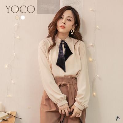 東京著衣-YOCO 華美高貴細緻絨布釦附領結雪紡上衣