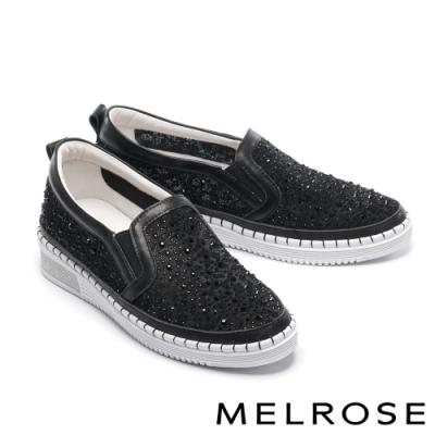 休閒鞋 MELROSE 氣質典雅水鑽刺繡設計厚底休閒鞋-黑