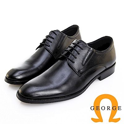 GEORGE 喬治皮鞋 職人系列 真皮素面側V切口紳士皮鞋 -黑