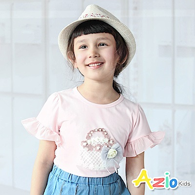Azio Kids  上衣 針織花朵藍子網紗蝴蝶結短袖上衣(粉)