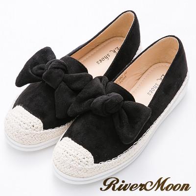River&Moon懶人鞋-俏皮大朵結細絨麻編豆豆休閒鞋-黑