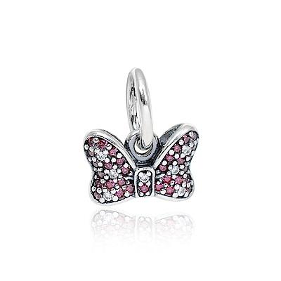Pandora 潘朵拉 迪士尼系列 米妮蝴蝶結鑲鋯 垂墜純銀墜飾