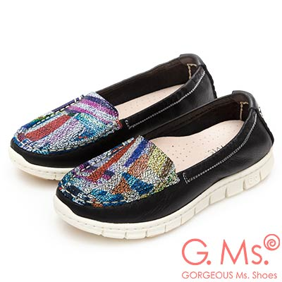 G.Ms. MIT極輕量-牛皮印象幻彩莫卡辛鞋-黑色