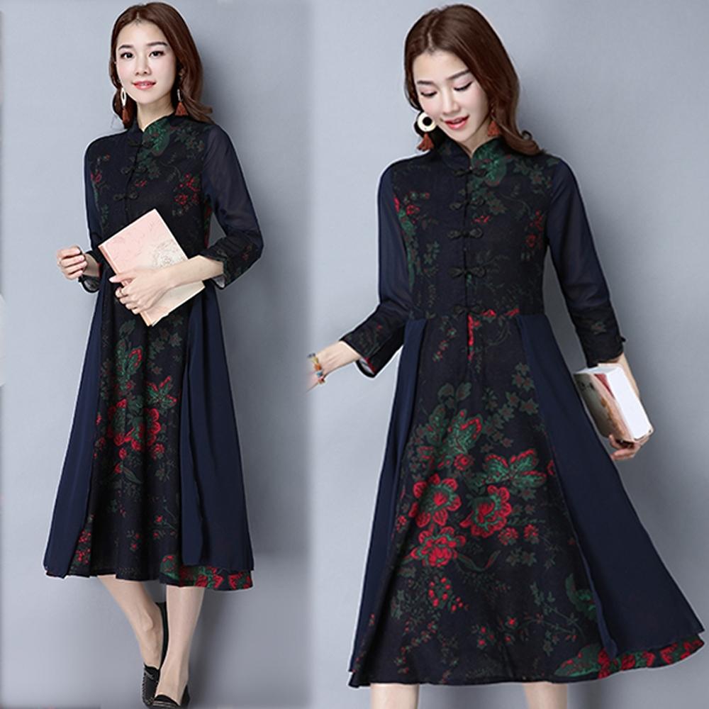 【韓國K.W.】(預購)中國風印花雪紡過膝旗袍洋裝-2色